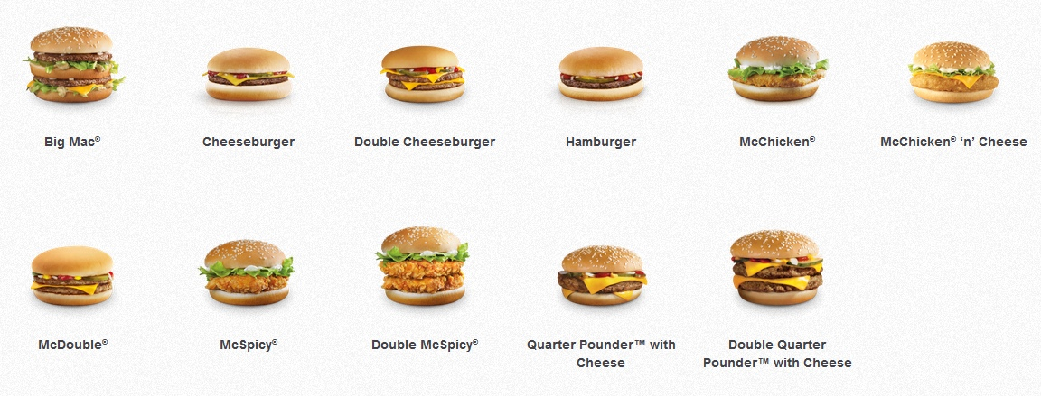 The regular (and boring) burger selection from McDonald's Singapore's website. The Fillet-O-Fish is missing for some reason.
