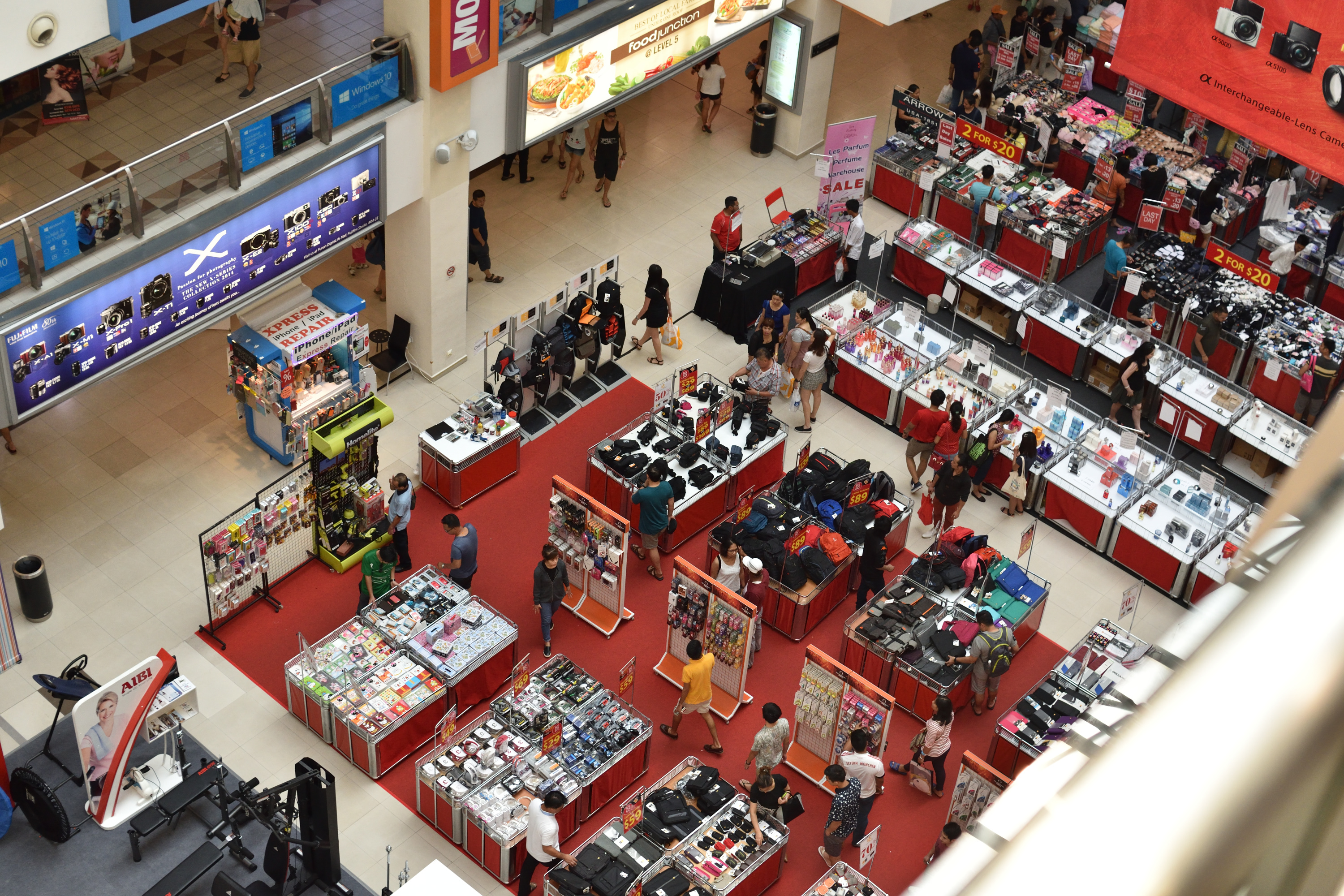 The atrium fair is more crowded than usual today (Sunday, 10 April)