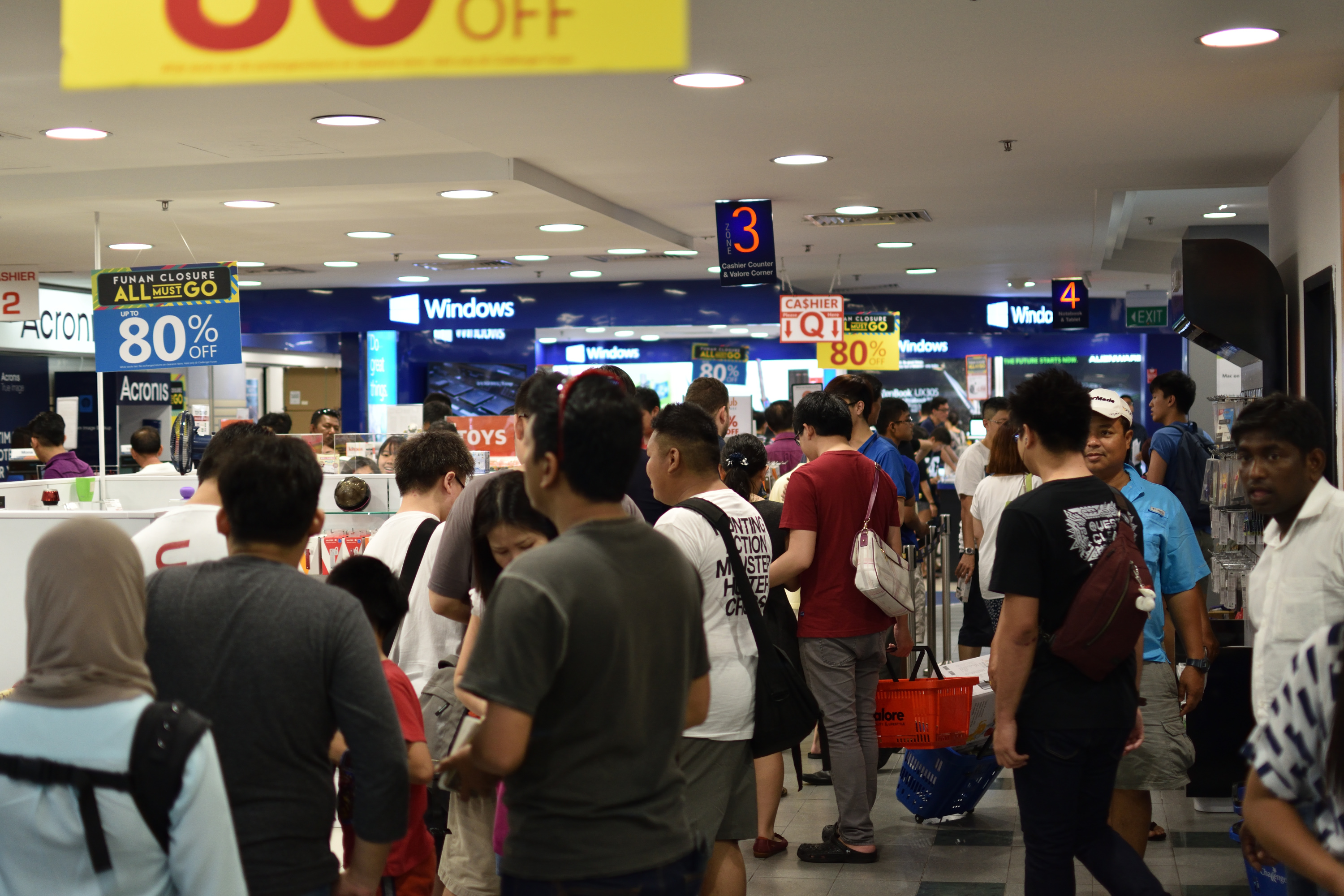 A long queue at the checkout counters.