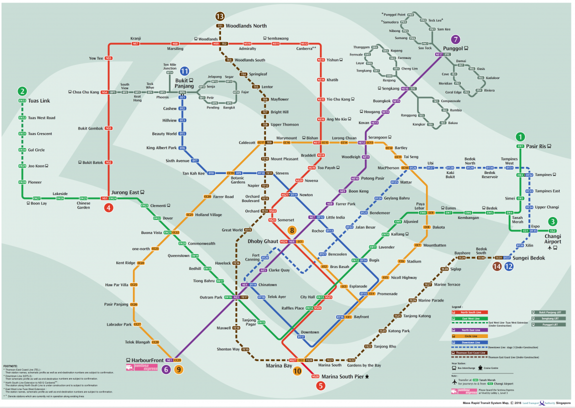 Map of Singapore's MRT and LRT system. Source: LTA
